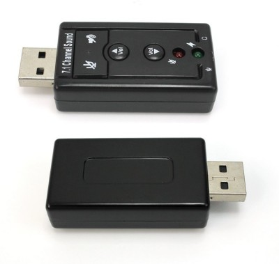 iConnect World New 7.1 Channel External Audio Adapter with Mic Virtual 3D Sound Sound Card
