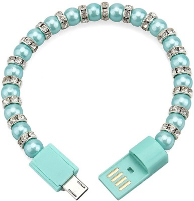 KARP Bracelet Necklace Pearl wrist line data portable beaded fashion bracelet USB charging cable for Samsung HTC Phone-CYAN USB-CY-2811 USB Charger