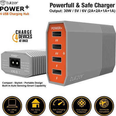 Tukzer 4 Ports USB Charging Hub : 6 Amp Power Plus Fast Charging, 4 ft / 1.2 mtr power cord included, Input Overvoltage Protection, charge 4 devices at once for your iPod, iPad, iPhone, SmartPhones, Tablet, E-Readers and MP3 players & other electronic devices for wide ranging use USB Hub
