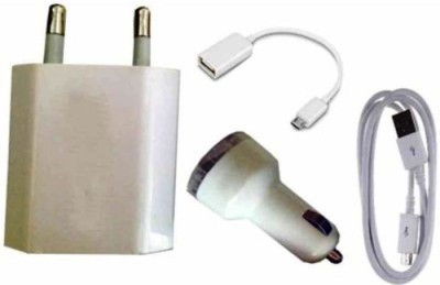 Onlineshoppee Combo of OTG Cable Adapter Car Charger AFR1902 USB Charger