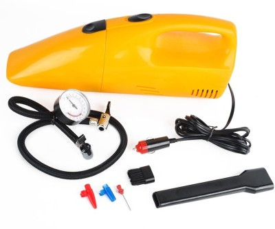 AUTOSiTY High Capacity 2 in 1 Tire Inflator 12 V, 300 PSI Air Compressor Car Vacuum Cleaner(Yellow)