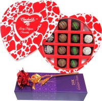 Chocholik 12Pc Luxury Chocolates Valentine Gift With 24k Red Gold Rose Artificial Flower Gift Set best price on Flipkart @ Rs. 1799