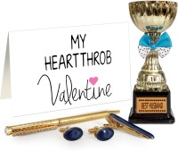 Tiedribbons Valentine Romantic Gift for Husband Golden Cufflinks, TiePin and Pen Set with Greeting Card and Golden Trophy Greeting Card Gift Set best price on Flipkart @ Rs. 1099