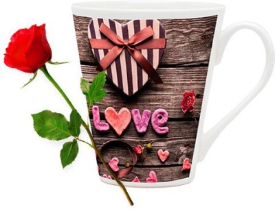 HomeSoGood Gift For My Valentine Coffee Mug With Red Rose Valentine Gift Set Gift Set