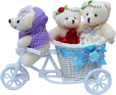 CTW 3 Small Teddybear With Beautiful Cycle Gift Set