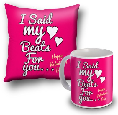 SKY TRENDS I Sad My Beats For You Valentine Cushion Cover and Coffee Mug Combo Gift Set
