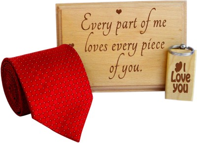 Tiedribbons Valentine's day gift for would be Love etched in woods combo Gift Set