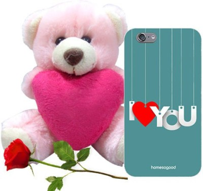 HomeSoGood Hanging Love Blue iPhone 6 Mobile Case With Teddy & Red Rose Gift Set