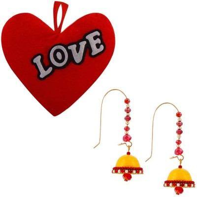 Bhavya India Buy Hancrafted Kidney Hook Jhumka & Get Heart Cushion Gift -315 Gift Set