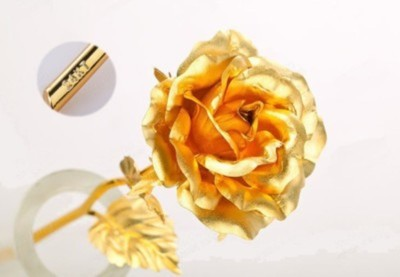 RajHeera Valentine Gift Golden Rose Showpiece  -  15 cm