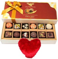 Chocholik Valentine Day Gift - 12Pc Celebrate With Delicious Chocolates Valentine Gift With Heart Pillow Cushion Gift Set best price on Flipkart @ Rs. 1199