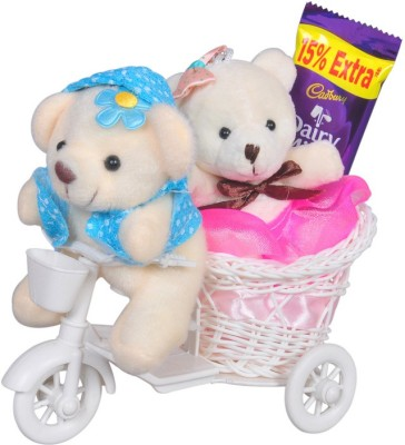 CTW Gifts with A Beautifull Cycle and 2 Small teddy & Yummy Chocolate Special For Valentine Couple Gift Set