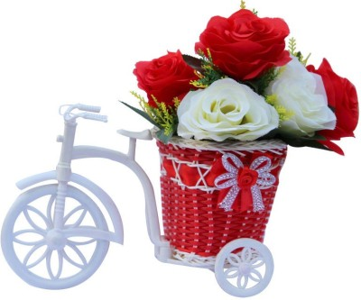 CTW love Roses Artifical Flower vase Basket Cycle Gift Set