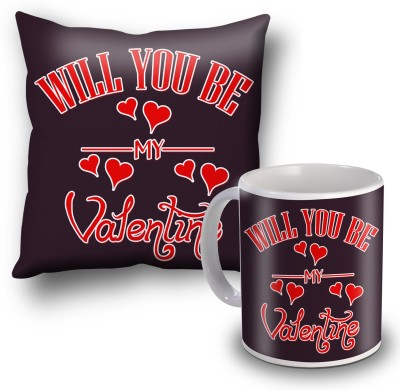 SKY TRENDS Will You Be My Valentine Cushion Cover and Coffee Mug Combo Gift Set