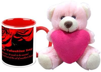 HomeSoGood Rose For My Valentine Coffee Mug With Teddy Valentine Gift Set Gift Set