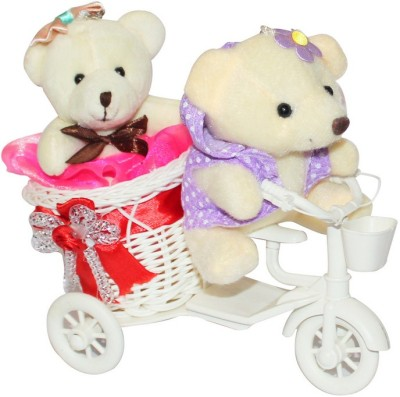 CTW Gift Cute Cycle and 2 Small teddy Couple Valentine Gift for him and Her Gift Set