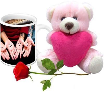HomeSoGood Awesome Love Bonding Coffee  With Teddy & Red Rose Ceramic Mug