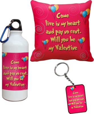 Tiedribbons Come Live In My Heart Cushion Cover for Valentine Sipper and Keychains Combo Gift Set