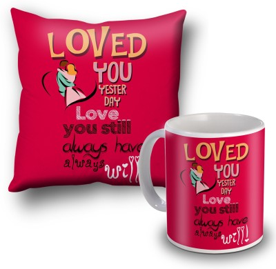 SKY TRENDS Loved You Yesterday Cushion Cover and Coffee Mug Combo Gift Set
