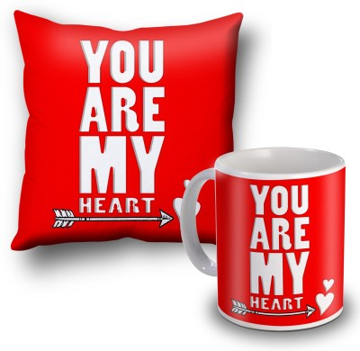 SKY TRENDS You Are My Heart Cushion Cover and Coffee Mug Combo Gift Set