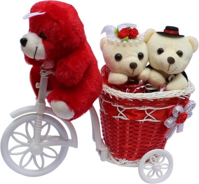 CTW Beautiful Big Basket Red Cycle With 3 Teddybear Gift Pack for him & Her Gift Set