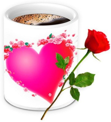 HomeSoGood Ohh! My Heartbeat Coffee Mug With Red Rose Valentine Gift Set Gift Set