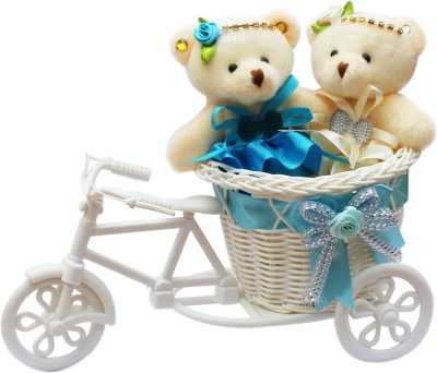 CTW Cute TeddyBear Tiny Miny Girls Sitting In Beautiful Cycle Gift Pack for Him & Her Gift Set