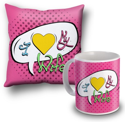 SKY TRENDS I Love My Wife Cushion Cover and Coffee Mug Combo Gift Set