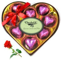 Chocholik Valentine Day Gift - 9Pc Coral Love Chocolates With Red Rose Artificial Flower Gift Set best price on Flipkart @ Rs. 748