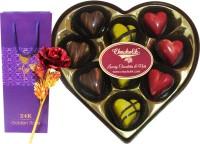 Chocholik 9Pc Sparkling Belgian Chocolates Valentine Gift With 24k Red Gold Rose Artificial Flower Gift Set best price on Flipkart @ Rs. 1599
