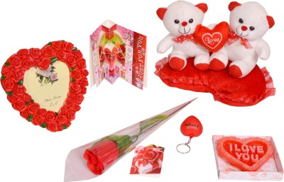 Indigo Creatives Super - Heart photo frame, Rose, Candle, Teddy Bear, key chain, Greeting Card pack Gift Set