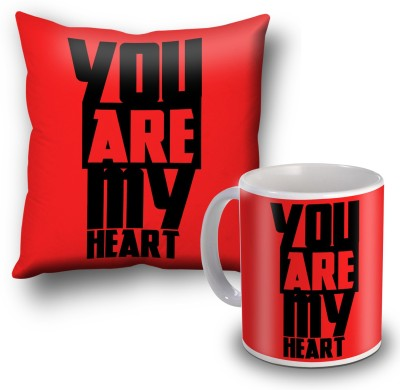 SKY TRENDS You Are My Heart Black Cushion Cover and Coffee Mug Combo Gift Set