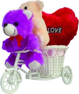 CTW Cute Teddybear Sitting In Cycle With Love Heart Valentine Gift set Gift Set