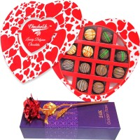 Chocholik 12Pc Delicious Belgian Chocolates Valentine Gift With 24k Red Gold Rose Artificial Flower Gift Set best price on Flipkart @ Rs. 1799