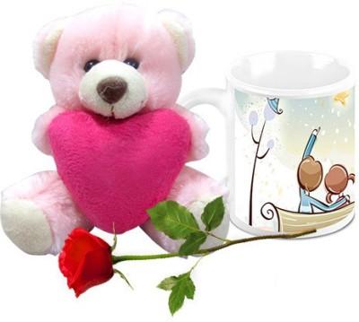 HomeSoGood Love Life Post Valentine Coffee  With Teddy & Red Rose Ceramic Mug