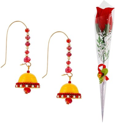 Bhavya India Buy Hancrafted Kidney Hook Jhumka & Artificial Red Rose Gift -316 Gift Set