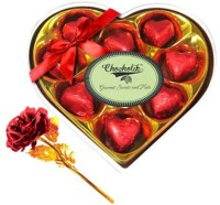 Chocholik Valentine Day Gift - 9Pc Crimson Love Chocolates With Red Gold Rose Artificial Flower Gift Set best price on Flipkart @ Rs. 1499