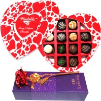 Chocholik 12Pc Heart Shaped Chocolate Box Valentine Gift With 24k Red Gold Rose Artificial Flower Gift Set best price on Flipkart @ Rs. 1799