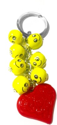 Tech Fashion Keychain Valentine Gift Yellow Smiley Wooden Balls Red Heart Keyring-TF-346 Gift Set