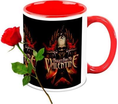HomeSoGood Bullet For My Valentine Coffee Mug With Red Rose Valentine Gift Set Gift Set