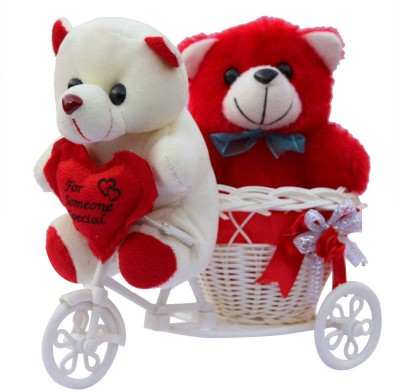 CTW Love Couple Teddy Basket cycle Valentine Gift Set