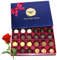 Chocholik Valentine Day Gift - 24Pc Exotic Collections Of Chocolates With Red Rose Artificial Flower Gift Set best price on Flipkart @ Rs. 1648