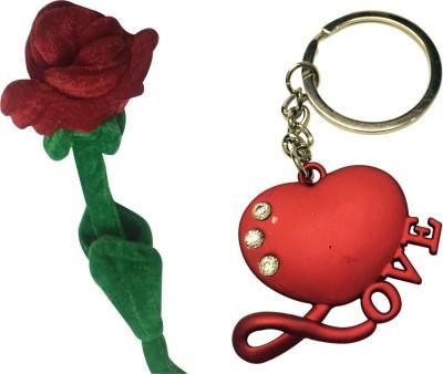 Priyankish Rose Soft Toy & Love Key Chain Gift Set