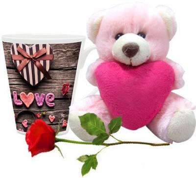 HomeSoGood Gift For My Valentine Coffee Mug With Teddy & Red Rose Valentine Gift Set Gift Set