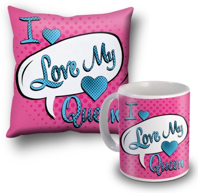 SKY TRENDS I Love My Queen Cushion Cover and Coffee Mug Combo Gift Set