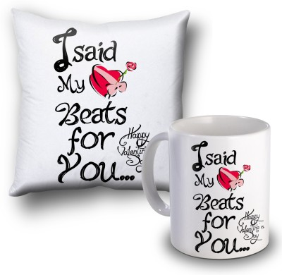 SKY TRENDS I Sad My Beats For You Valentine Special Cushion Cover and Coffee Mug Combo Gift Set