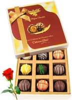 Chocholik Valentine Day Gift - 9Pc Sweet Crunch Chocolate Box With Red Rose Artificial Flower Gift Set best price on Flipkart @ Rs. 898