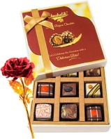 Chocholik Valentine Day Gift - 9Pc Wonderful Treat Of Chocolates With Red Gold Rose Artificial Flower Gift Set best price on Flipkart @ Rs. 1649