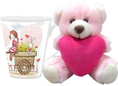 HomeSoGood A Walk With My Valentine Coffee Mug With Teddy Valentine Gift Set Gift Set