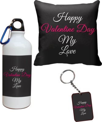 Tiedribbons My Love Happy Valentine Day Cushion Cover Sipper and Keychains Combo Gift Set